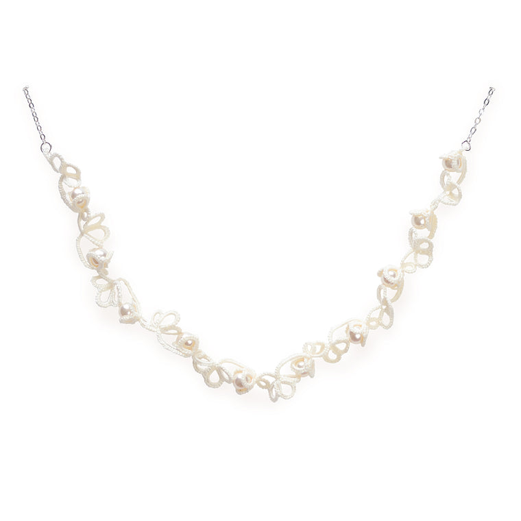 Crochet Twist Flower Pearl Necklace White