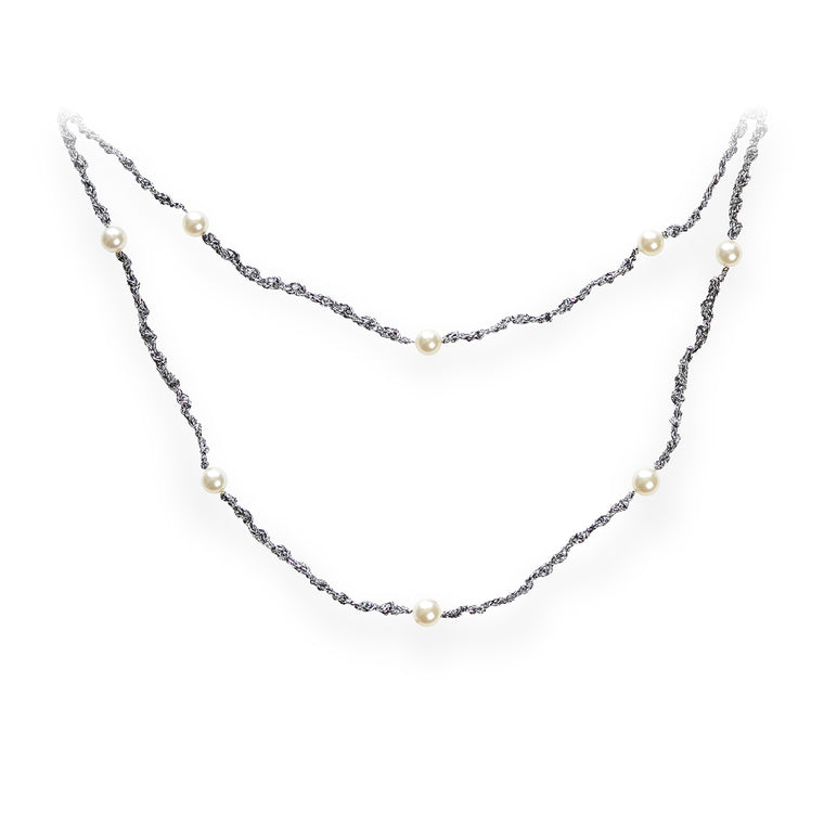 Delicate Double Strand Pearl Necklace Brilliant