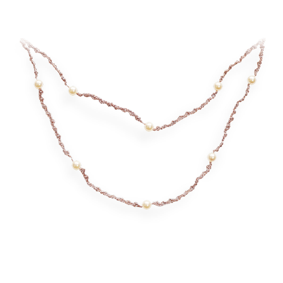 Delicate Double Strand Pearl Necklace Dusk