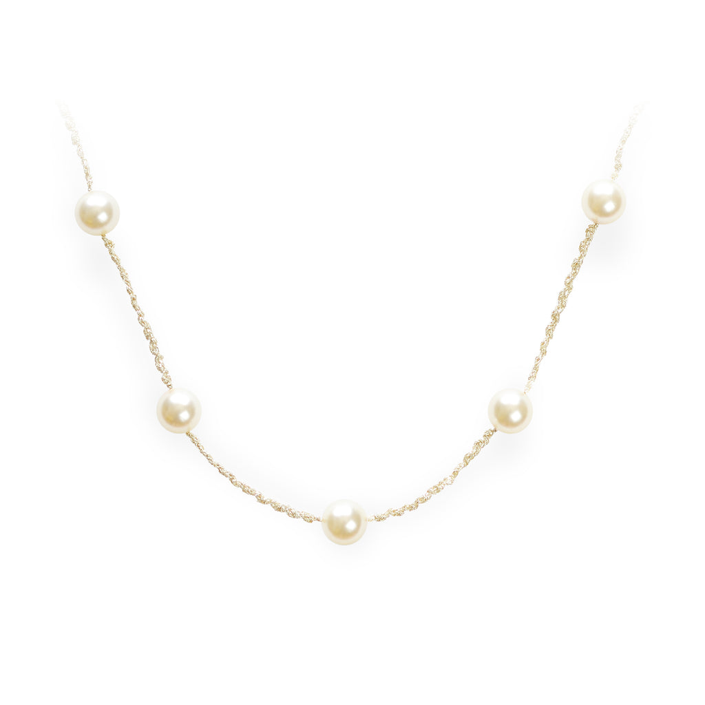 Classic Pearl Crochet Long Necklace Gold