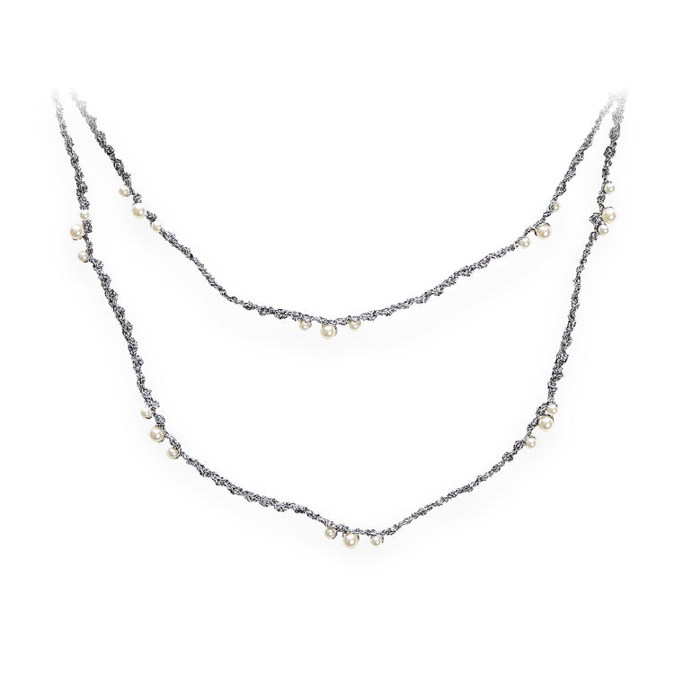 Dripping Pearls Series Double Strand Pearl Crochet Necklace Brilliant