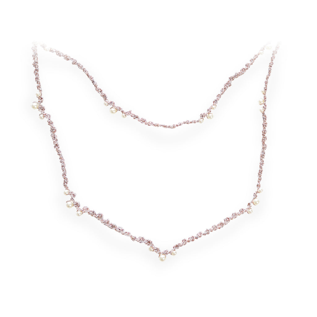 Dripping Pearls Series Double Strand Pearl Crochet Necklace Dusk
