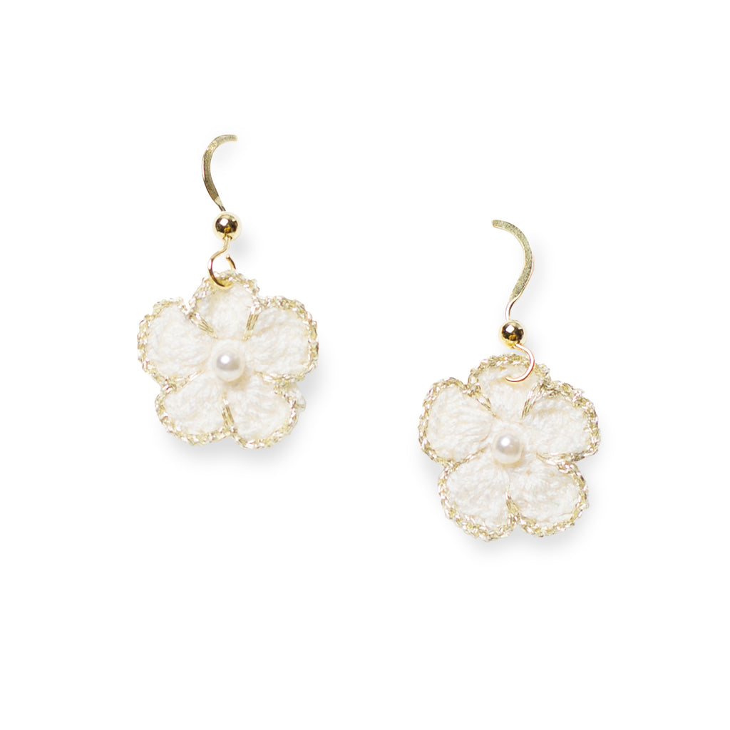 Blossom Golden Crochet Drop Pierce White