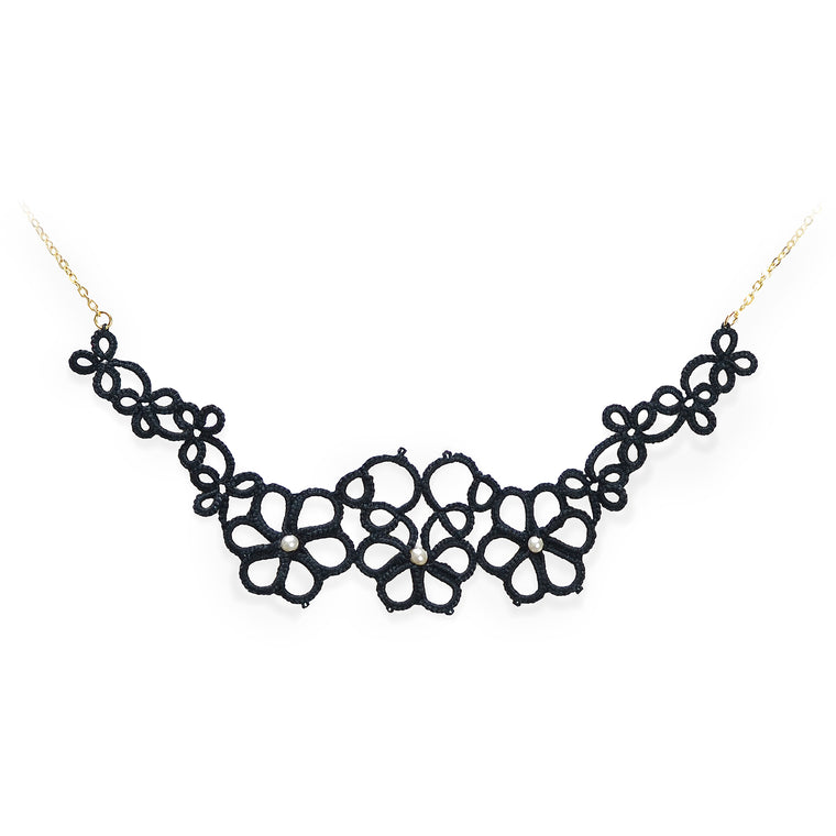 Crochet Magnolia Tatted Necklace Black
