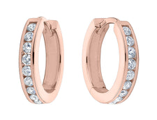 Huggie Hoop Diamond Earrings 1/2 ctw in 10K Rose Pink Gold (1/2 inch)