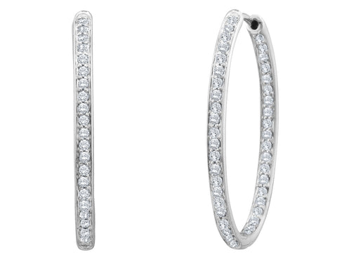 Diamond In and Out Hoop Earrings 1/2 Carat (ctw) in 14K White Gold