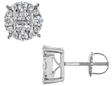 Diamond Circle Earrings 1.0 Carat (ctw) in 14K White Gold