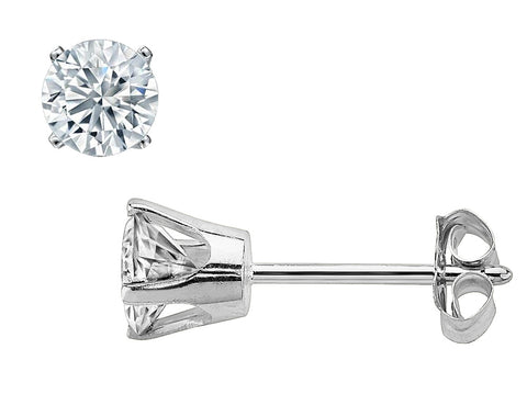 14K White Gold 1/2 Carat (ctw) Round-Cut Solitaire Stud Diamond Earrings (J-K Color, I1-I2 Clarity)