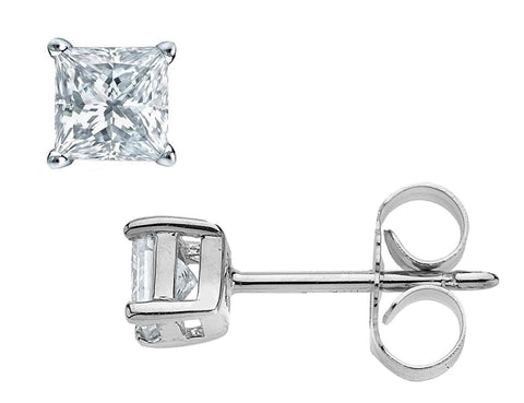 14K White Gold 2/5 Carat (ctw) Princess-Cut Solitaire Stud Diamond Earrings (J-K Color, I1-I2 Clarity)