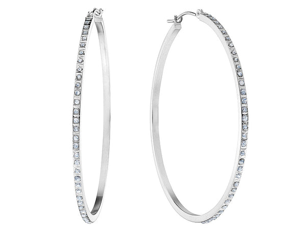 Large Diamond Hoop Earrings in 14K White Gold (1 3/4 Inch)
