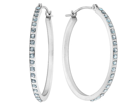 Diamond Round Hinged Hoop Earrings in 14K White Gold