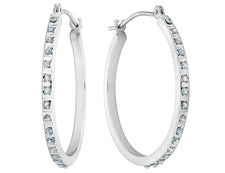 Diamond Small Round Hoop Earrings in 14K White Gold (1 Inch)