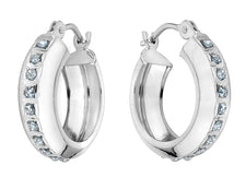 Diamond Round Huggie Hoop Earrings in 14K White Gold (1/2 Inch)