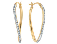Diamond Oval Hoop Twist Earrings in Sterling Silver and 14K Yellow Gold (1 1/3 Inch)