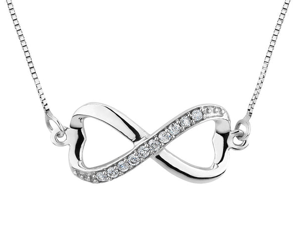 Infinite Love Double Heart Diamond Pendant Necklace 1/10 Carat (ctw) in 10K White Gold