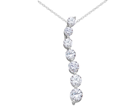 Diamond Journey Pendant Necklace 1/2 Carat (ctw) in 14K White Gold