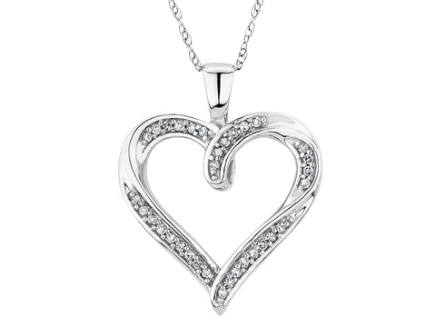Diamond Heart Pendant Necklace 1/10 Carat (ctw) in 10K White Gold