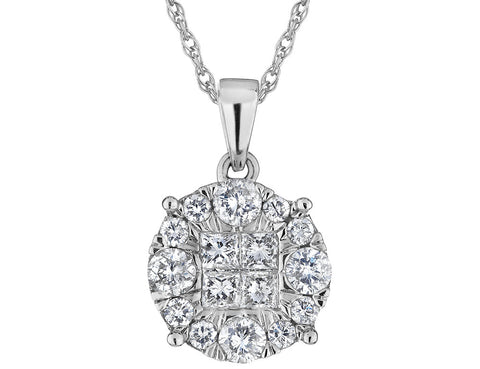 Diamond Circle Pendant Necklace 1.0 Carat (ctw) in 14K White Gold with Chain (2.0 Carat Look)