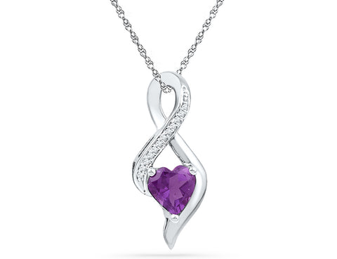 Created Amethyst and Diamond Infinity Pendant Necklace 3/4 Carat (ctw) 10K White Gold