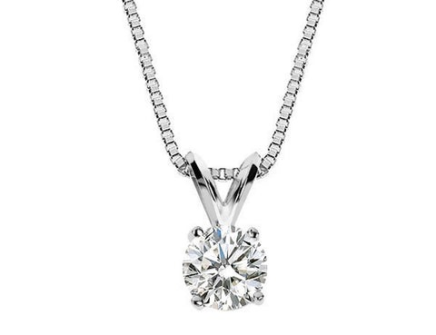 Diamond Solitaire Pendant Necklace 1/2 Carat (ctw) in 14K White Gold with Chain