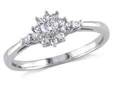 Diamond Prong and Bar Set Floral Engagement Ring 1/4 Carat (ctw) in 10K White Gold
