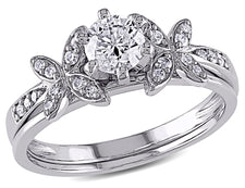 Diamond Engagement Ring & Wedding Band 5/8 Carat (ctw) Bridal Set in 10K White Gold
