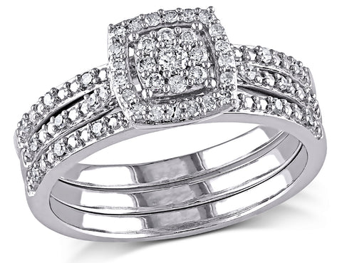 Diamond Engagement Ring & Wedding Band Set 1/3 Carat (ctw) in 10K White Gold