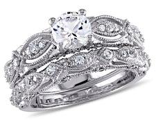 Created White Sapphire 1 3/4 Carat (ctw) with Diamond Engagement Ring Bridal Wedding Set 10K White Gold