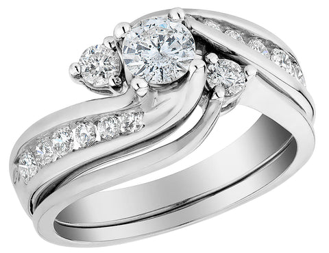 Diamond Interlocking Engagement Ring and Wedding Band Set 1.0 Carat (ctw) in 10K White Gold
