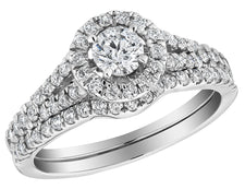 Diamond Engagement Ring with Halo and Wedding Band Set 1.0 Carat (ctw) in 10K White Gold
