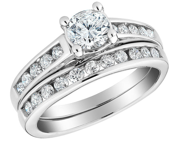 Diamond Engagement Ring and Wedding Band Set 1/2 Carat (ctw) in 10K White Gold