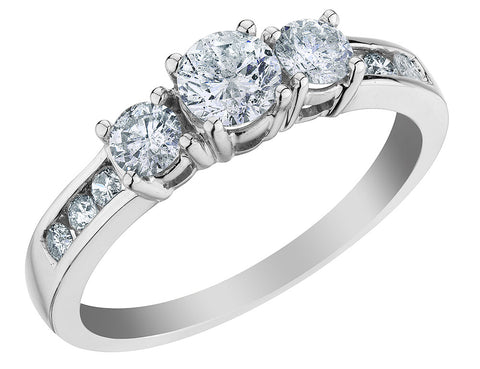 Three Stone Diamond Engagement Ring 1.0 Carat (ctw) in 10K White Gold