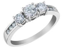 Three Stone Diamond Engagement Ring 3/4 Carat (ctw) in 10K White Gold