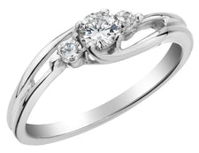 Three Stone Diamond Engagement Ring 1/4 Carat (ctw) in 10K White Gold