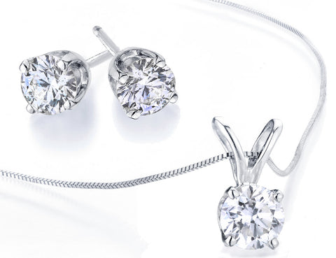 Diamond Solitaire Necklace & Stud Earrings Set 1/2 Carat (ctw) in 10K White Gold