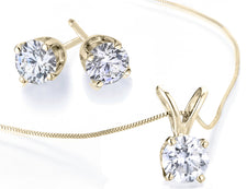 Diamond Solitaire Necklace & Stud Earrings Set 1/2 Carat (ctw) in 10K Yellow Gold