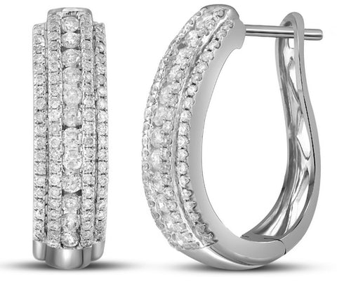 1.2 Carat (ctw) Diamond Hoops Earrings in 14k gold