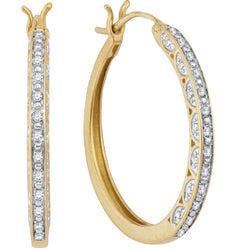 1/6 Carat (ctw) Diamond Hoops Earrings in 10k gold