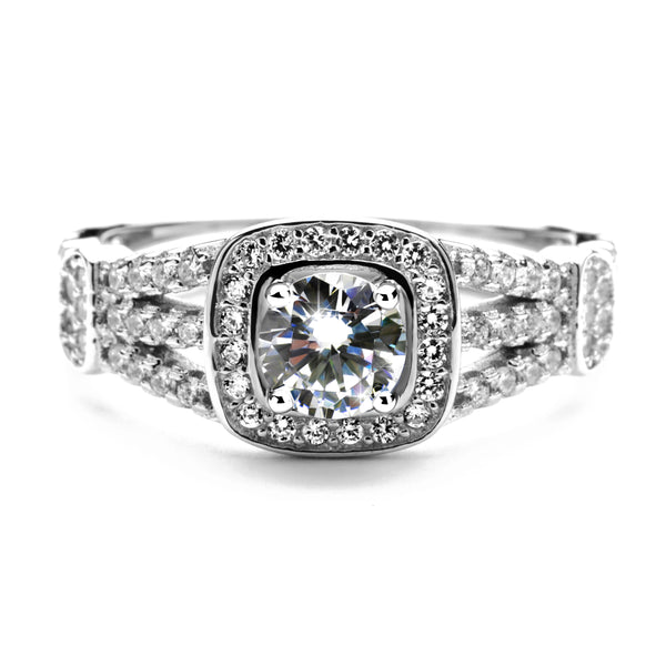 2.75 Carat Brilliant Cut Round Simulated Diamond Engagement Ring in Sterling Silver