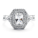 3.6 Carat Brilliant Cut Simulated Diamond Engagement Ring in Sterling Silver