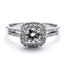 2.9 Carat Brilliant Cut Round Simulated Diamond Engagement Ring in Sterling Silver