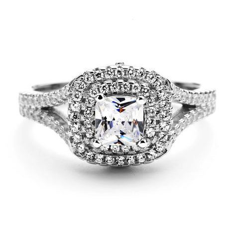 3.0 Carat Cushion Cut Halo Simulated Diamond Ring in Sterling Silver