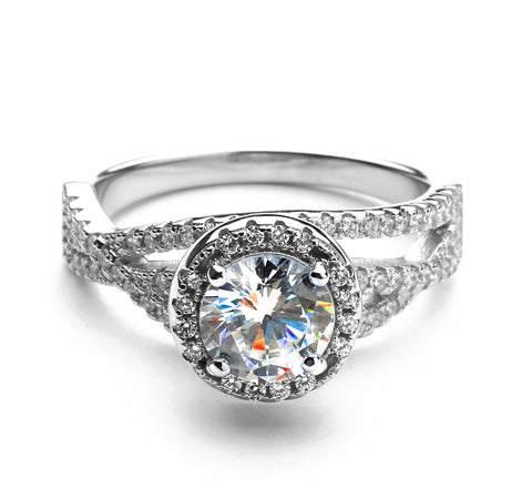 2.56 Carat Brilliant Cut Round Simulated Diamond Engagement Ring in Sterling Silver