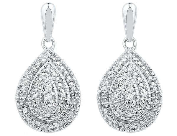 Diamond Teardrop Earrings 1/10 Carat (ctw) in Sterling Silver