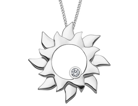 Diamond Sun Pendant Necklace in Sterling Silver with Chain