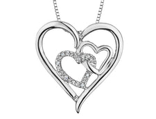 Triple Heart Pendant Necklace with Diamond Accents in Sterling Silver with Chain