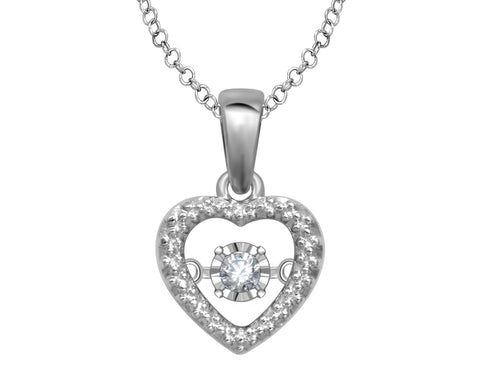 Glittering Stars Diamond Heart Pendant in Sterling Silver with Chain