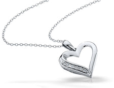 Diamond Heart Pendant Necklace in Sterling Silver with Chain