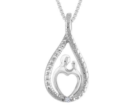 A Mother's Love Pendant Necklace with Diamond Accent in Sterling Silver with Chain
