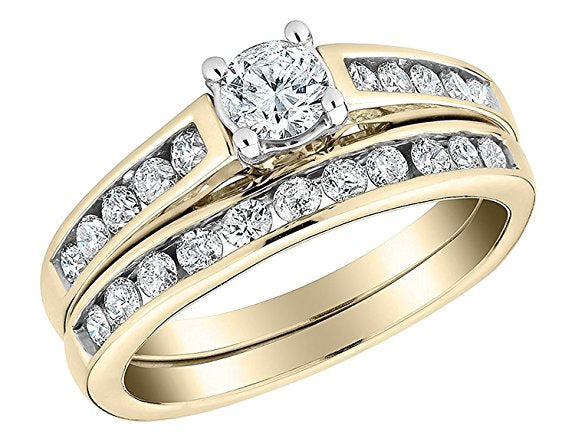 1/2 Carat Round Cut Diamond Ring and a Band in 10K Solid Gold